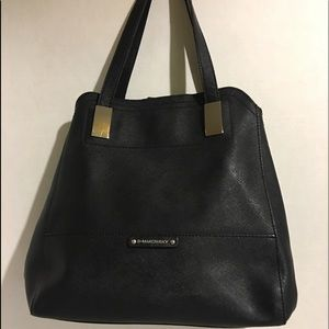 B. Makowsky Black saffiano leather tote/ bag